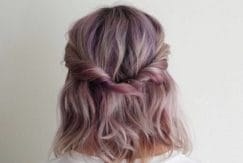quick easy hairstyles for short hair look great when worn with a pop of colour like this girls pink half-up twisted do