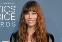 Jessica Biel at the critics choice awards with long bang hairstyle