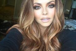 Jesy Nelson with curly brunette balayage
