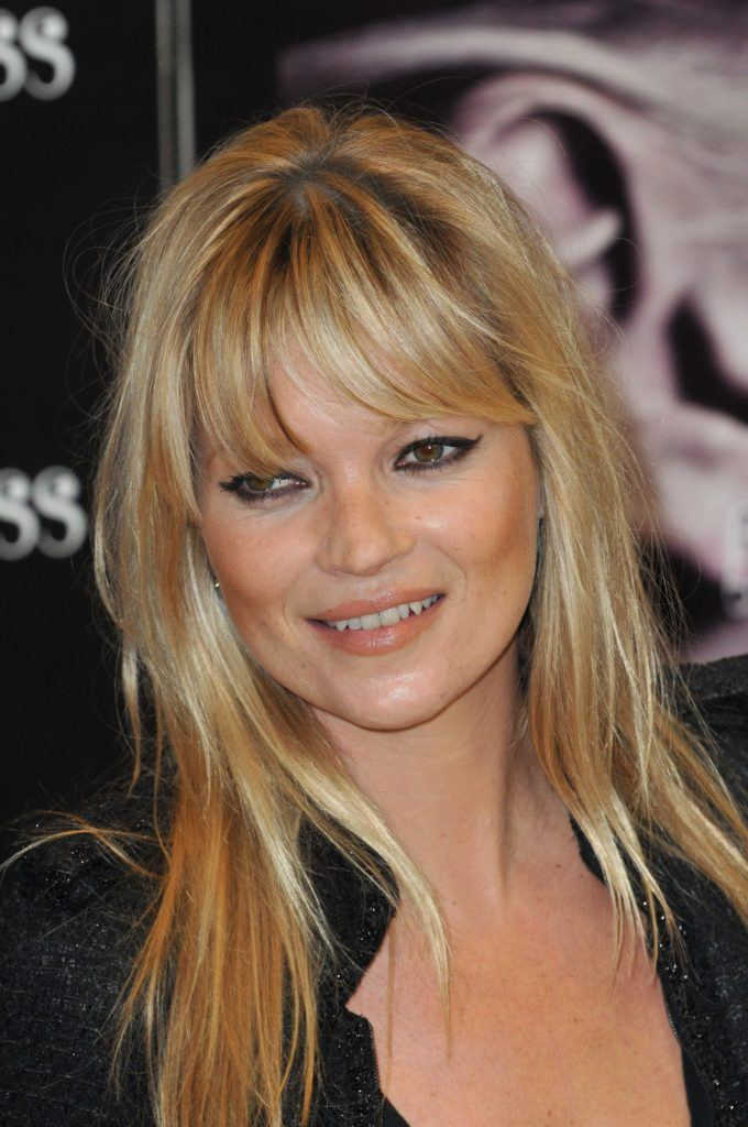 Kate Moss with a full wispy fringe hairstyles for very fine hair