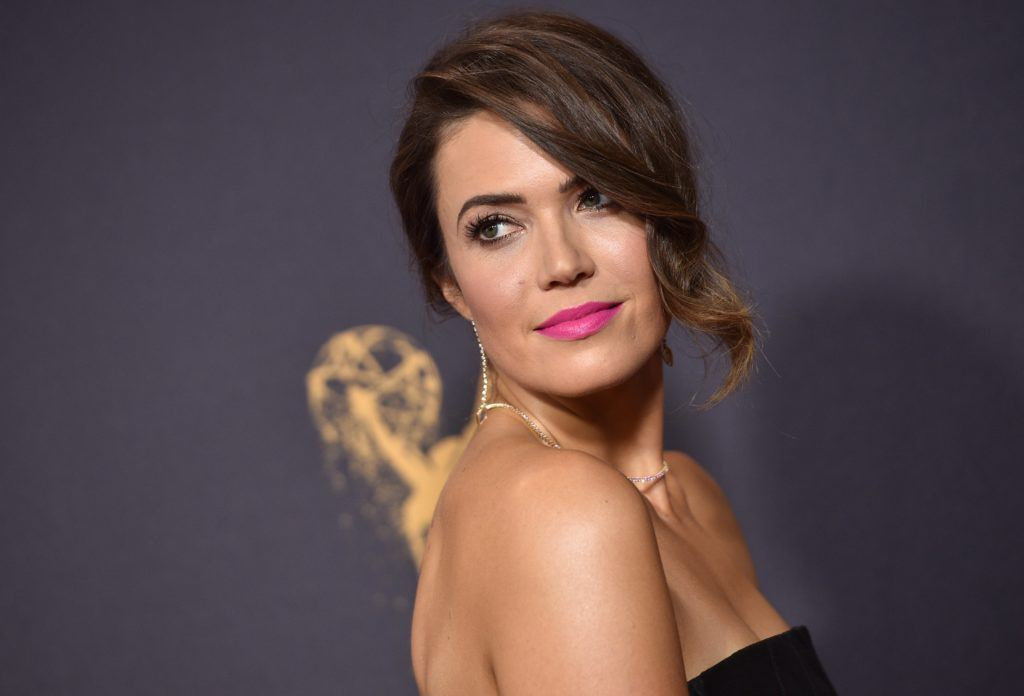 Mandy Moore Sweeping up do with side bangs