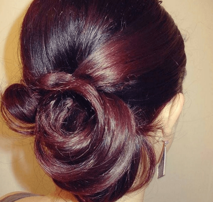 Red highlights on black hair 5 reasons to try it out red highlights on black hair in a bun hairstyle pmusecretfo Images