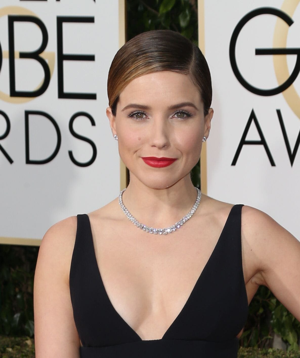 Sophia Bush with sleek side parting