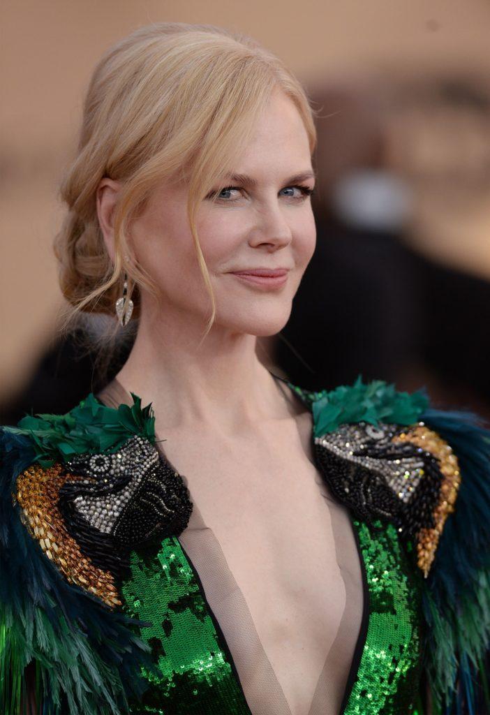 Nicole Kidman with low twisted updo