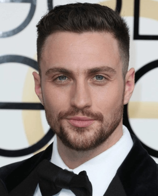Aaron Taylor-Johnson in black tie with a short crop hair cut - cool haircuts