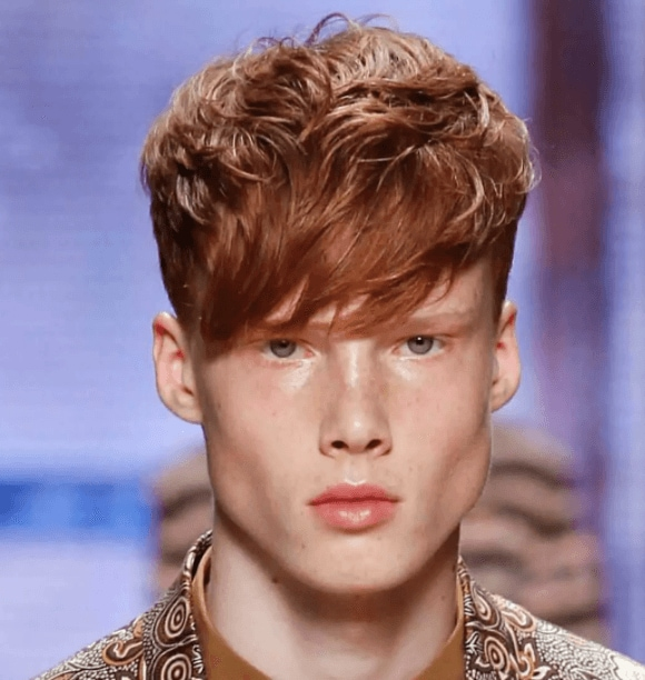 front view image of a man with red hair and a long fringe - cool hairstyles