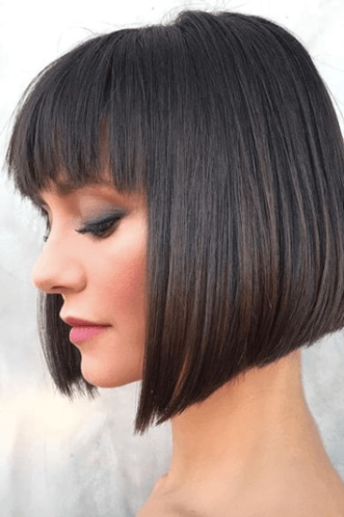 side view image of a woman with short dark hair and bangs - short hairstyles 2017