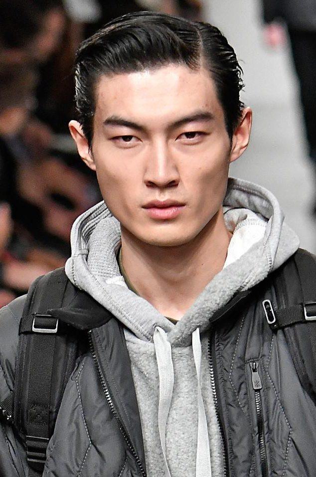 Sleek slick hairstyle at Christopher Raeburn London Fashion Week Men's AW17