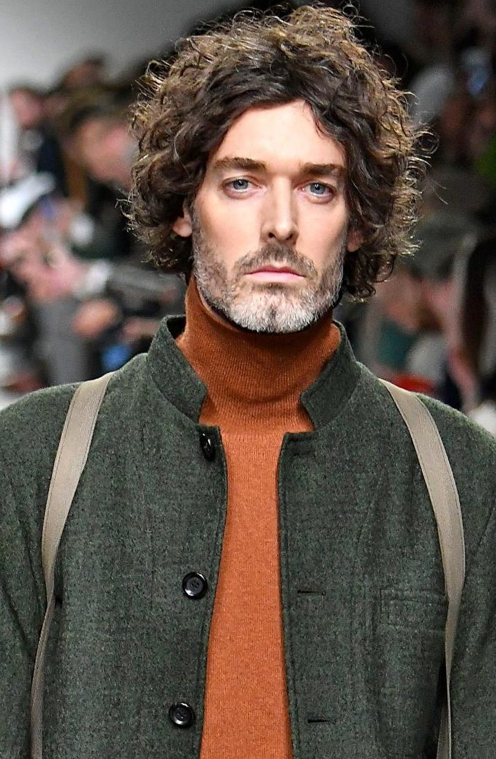 Older male model with culry tousled texture