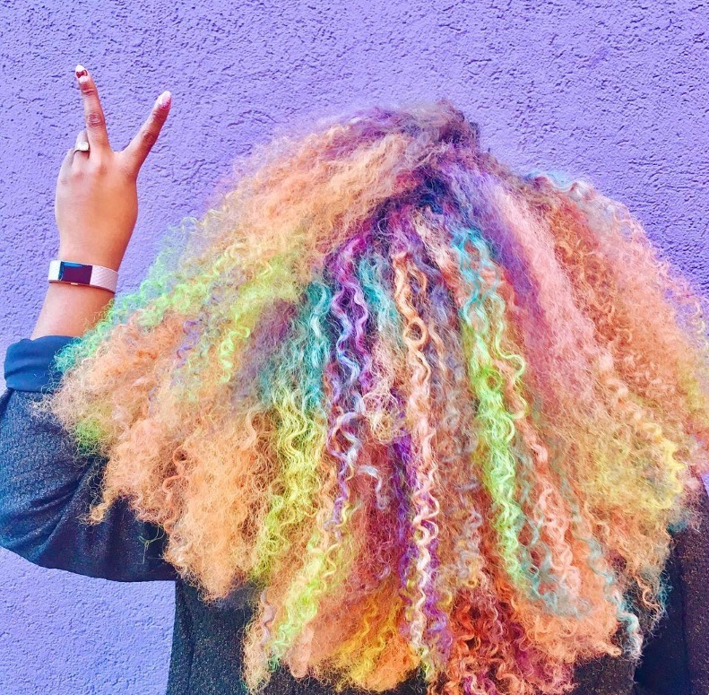 rainbow curls hairstyles multi-coloured afro hair