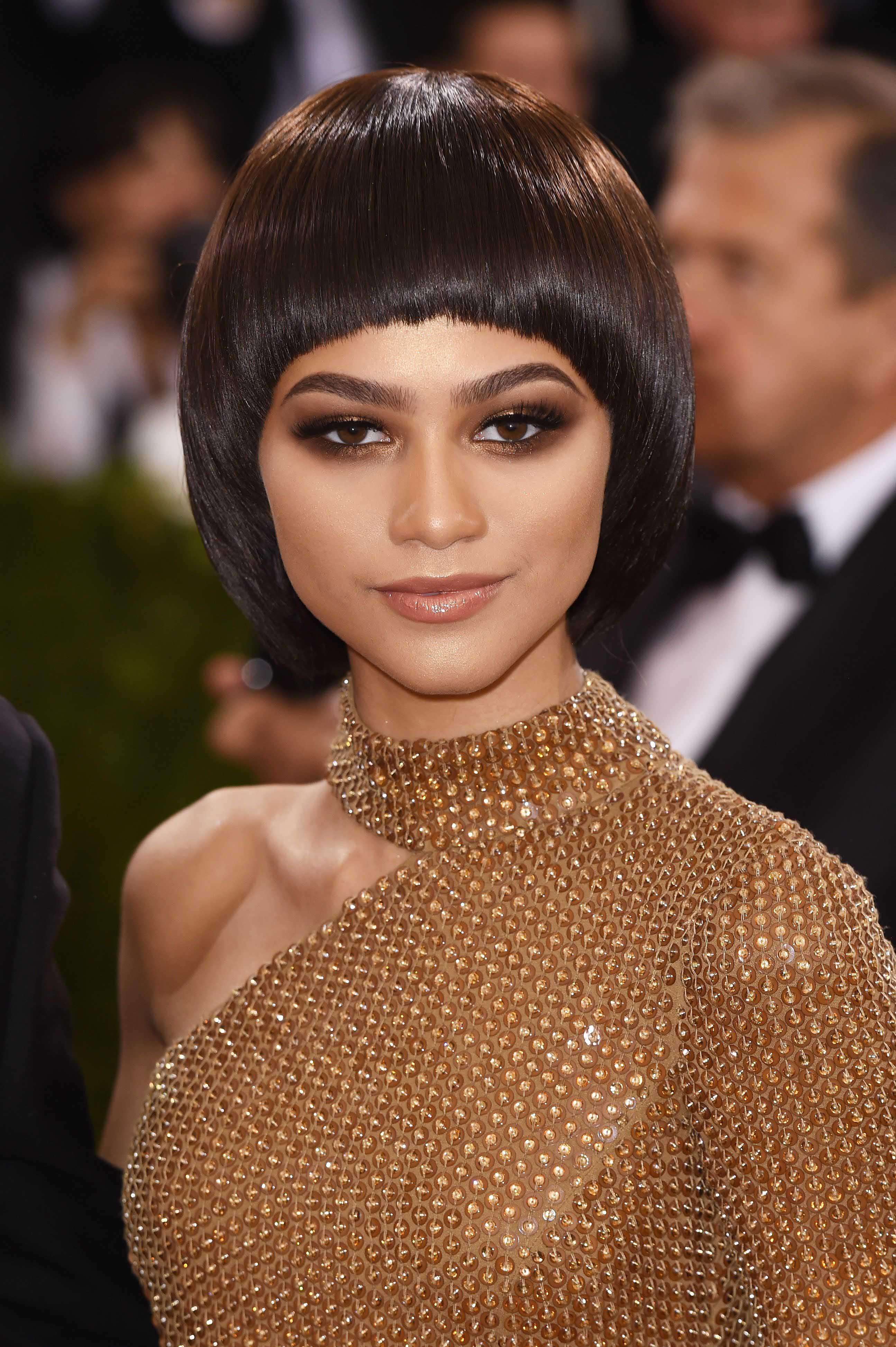 bowl cut: All Things Hair - IMAGE - Zendaya shiny brown hair short haircut