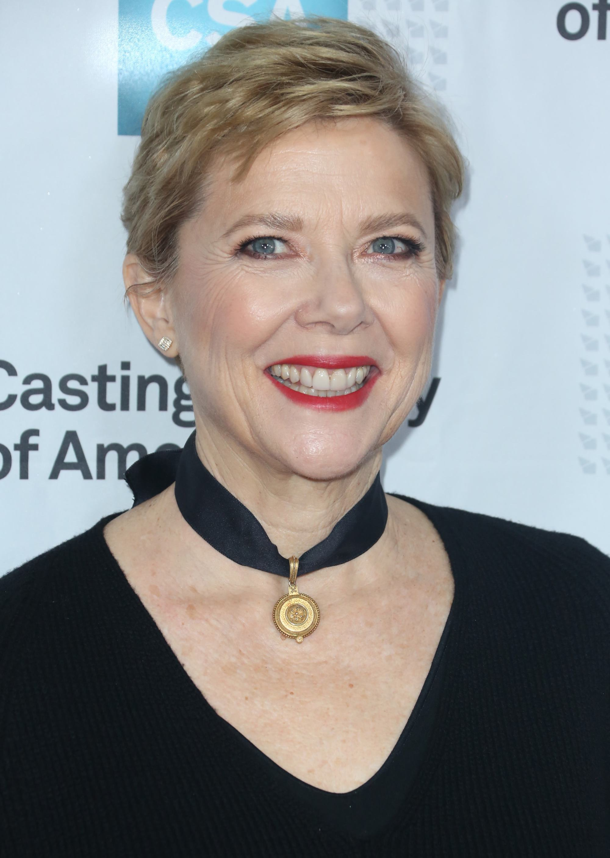 Annette Bening pixie crop blonde highlights