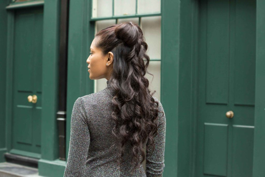 brunette with half-up bow hairstyles