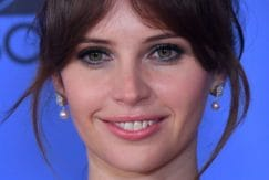 Felicity Jones brown hair updo fringe