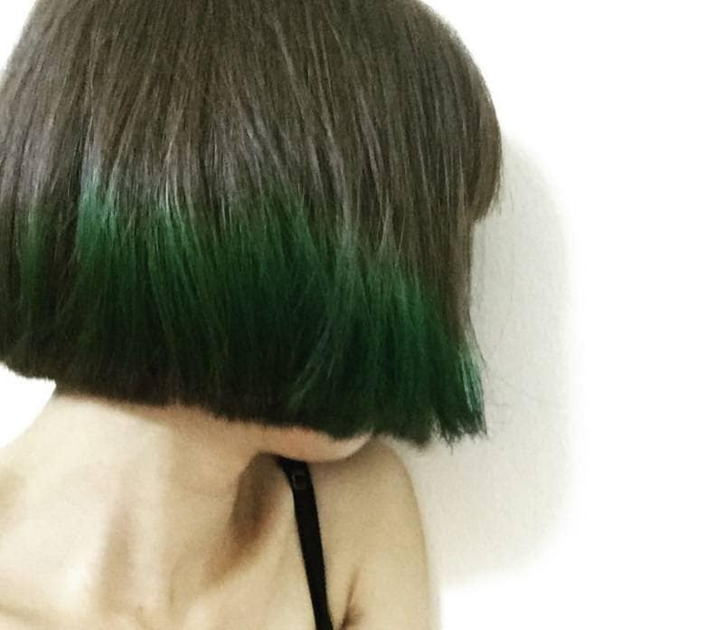 Short Hair Ombre Model With Emerald Green Cut Into A Sleek Bob