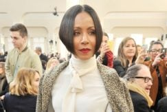 Jada Pinkett Smith at a fashion show with super short black bob hair