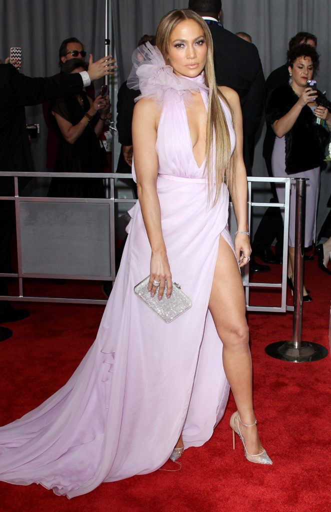 jennifer lopez in a lilac dress on the red carpet with long blonde hair