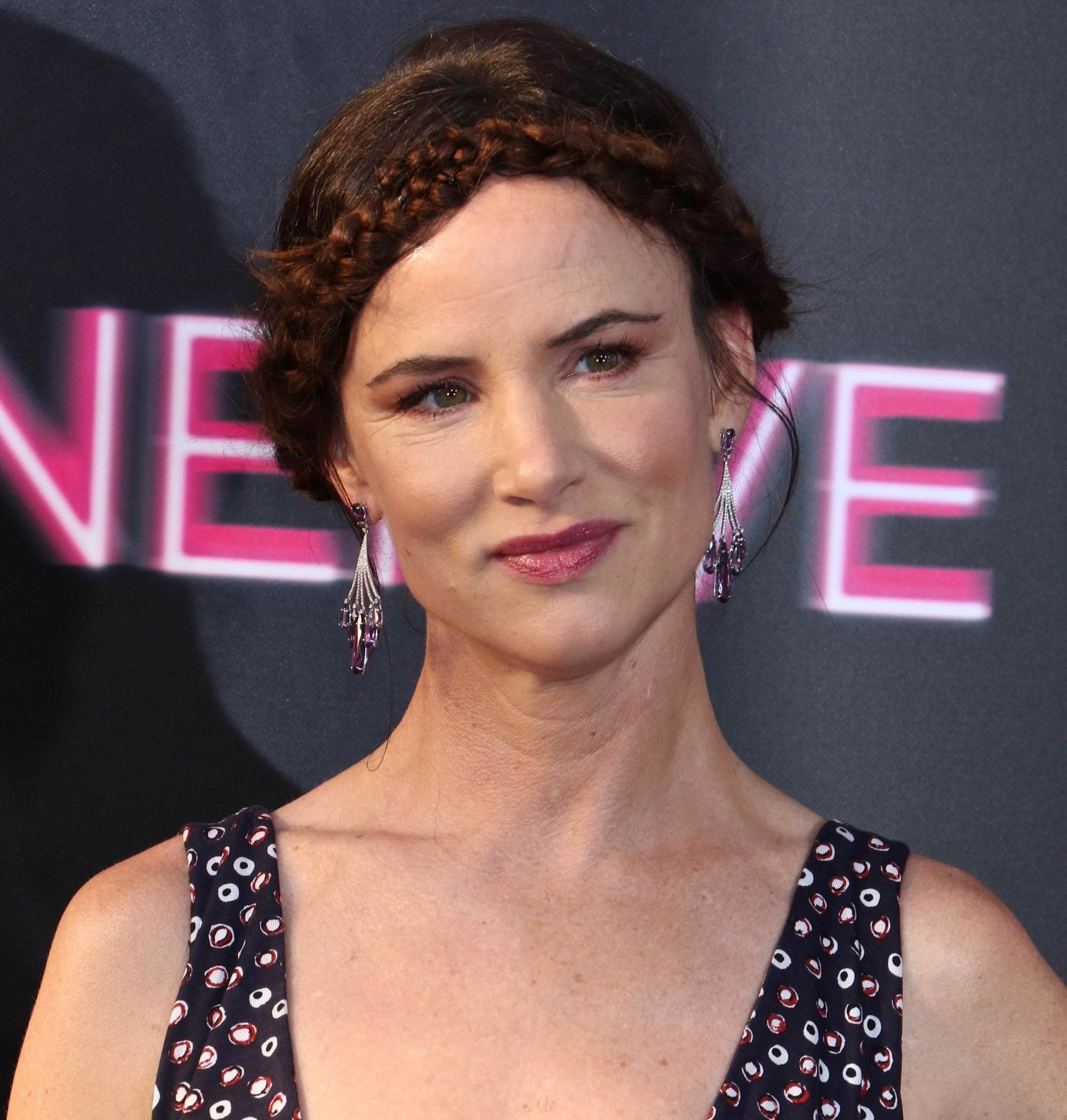 Juliette Lewis braided updo brown hair