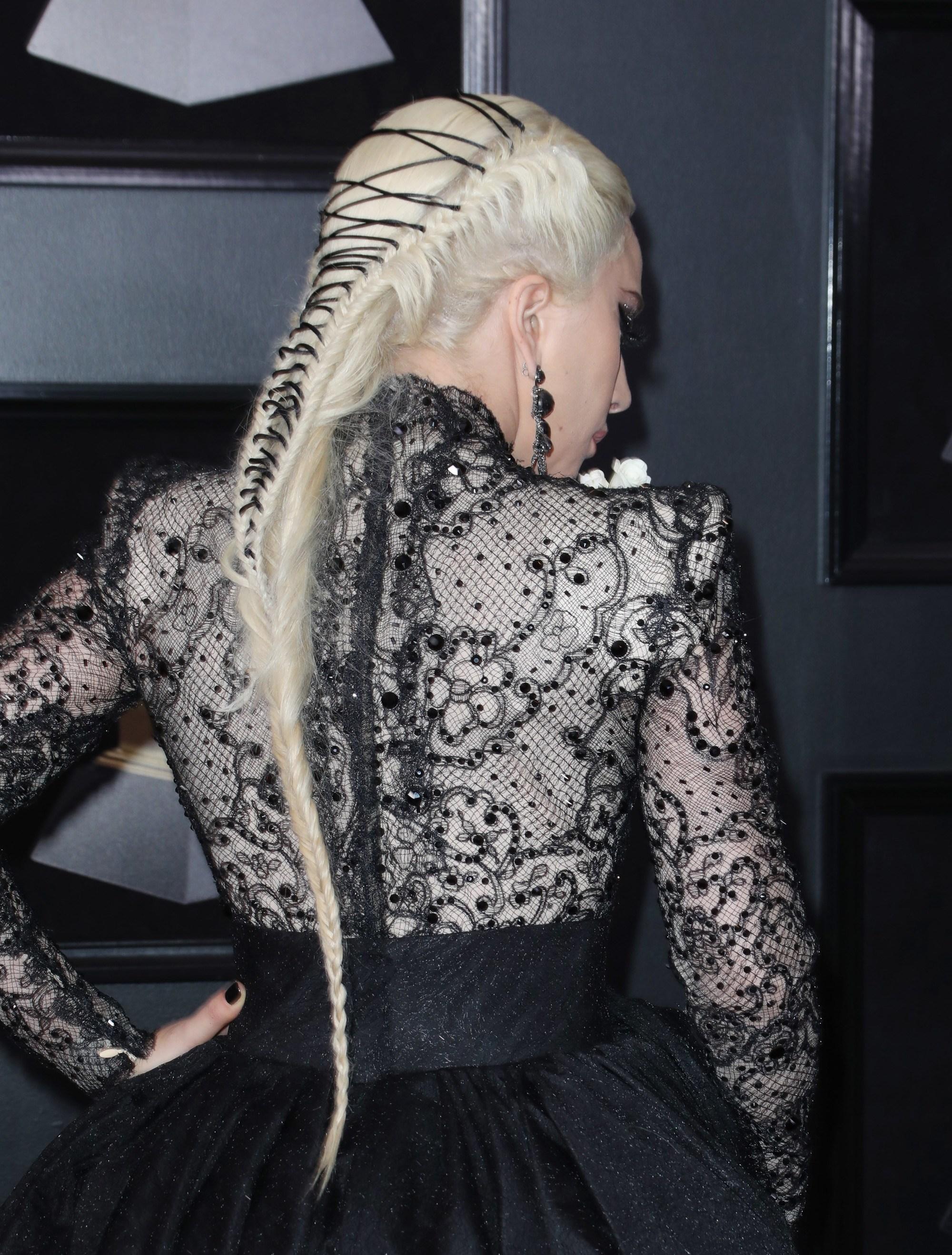grammys 2018 lady gaga long bleach blonde ribbon braid