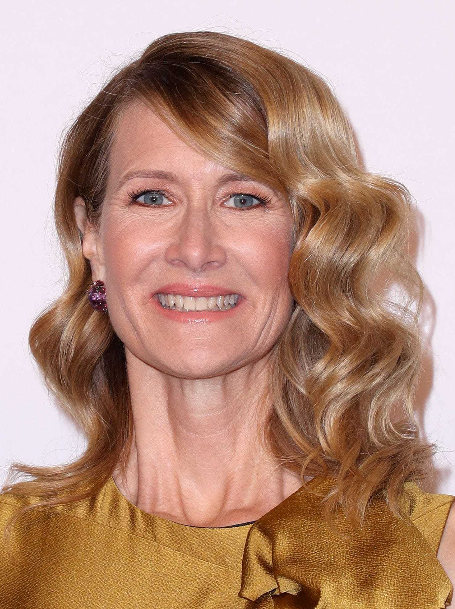 Laura Dern fashionable hairstyles golden wavy hair