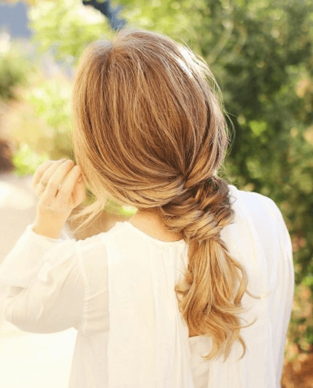 back view image of a woman with long blonde hair in a mini fish tail braid - braid hairstyles 2017