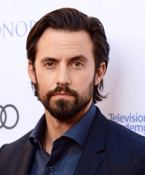 front view image of Milo Anthony Ventimiglia with longer hair in a quiff hairstyle