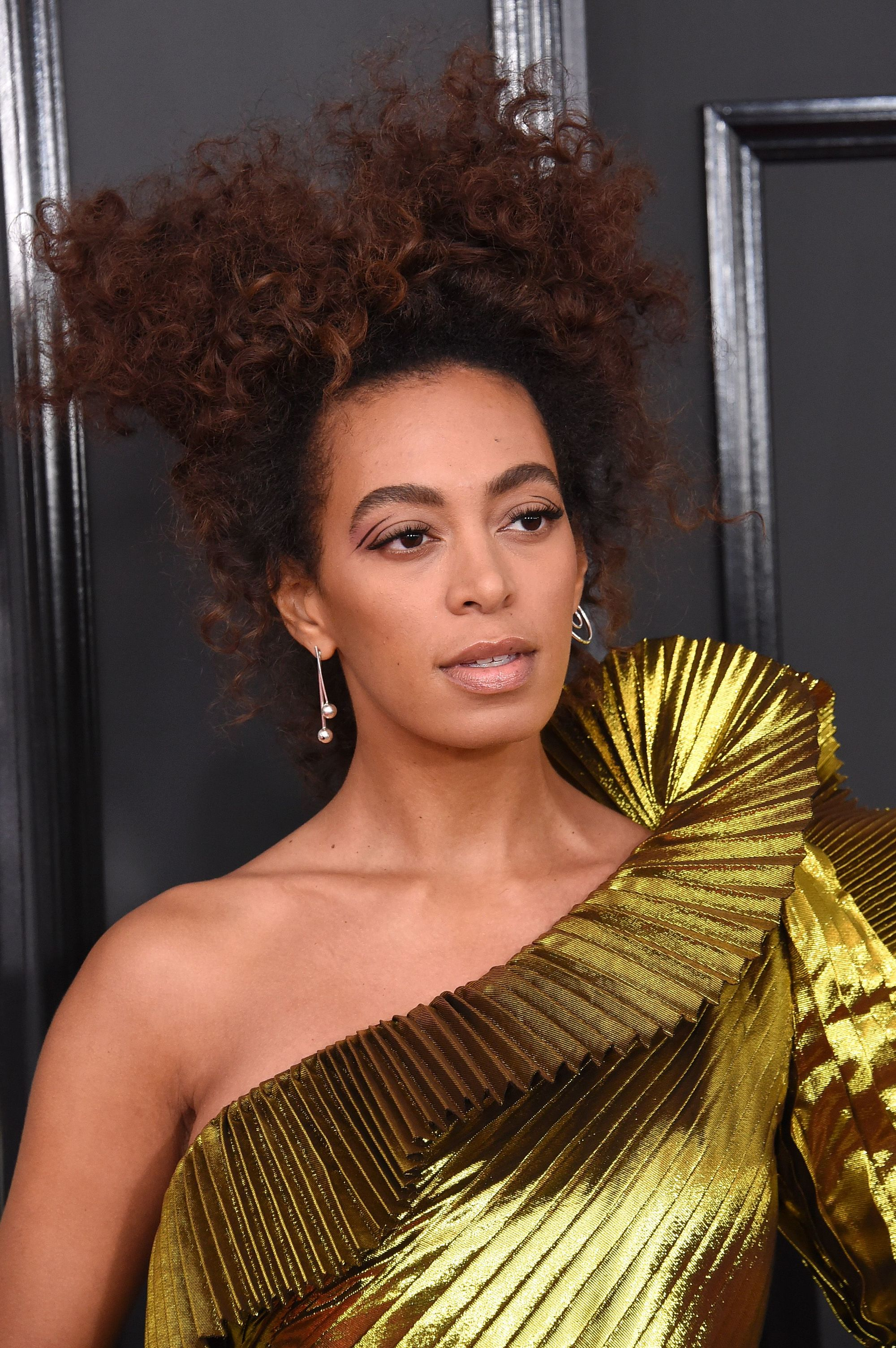solange knowles wearing a gold pleated gown with her curly afro hair in an updo style