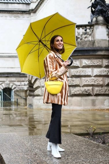Everyday hairstyles for bad weather: Outdoor shot of a brunette woman holding a yellow umbrella in the rain
