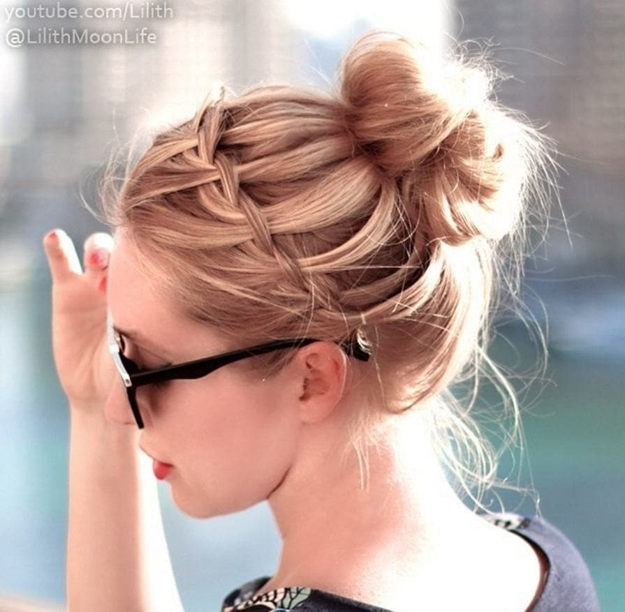 Waterfall Braid Bun Blonde Woman Wearing Sunglasses With Her Hair In A  Waterfall Braided Bun Style