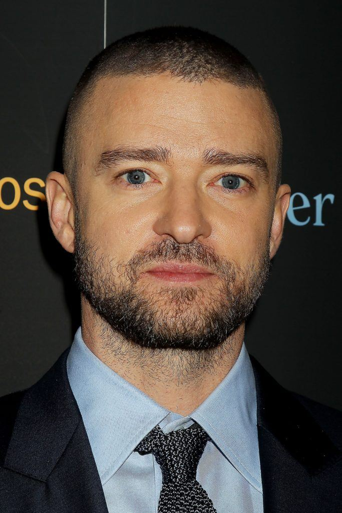 Justin Timberlake with a buzzcut hairstyle