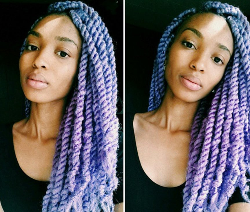 colorful marley braid hairstyles: elaineafrika with pastel purple twists