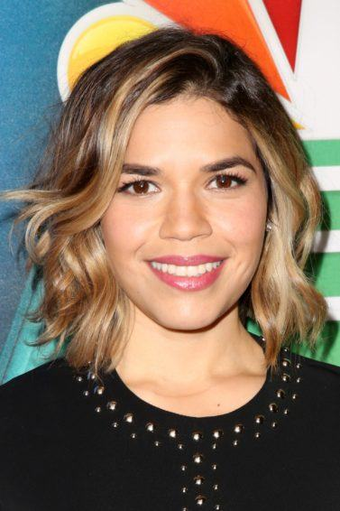 America Ferrera on the red carpet with a wavy long bob in an ombre style