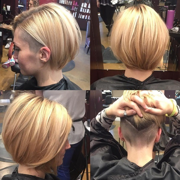 asymmetrical hairstyles blonde women with an asymmetrical bob and an  undercut