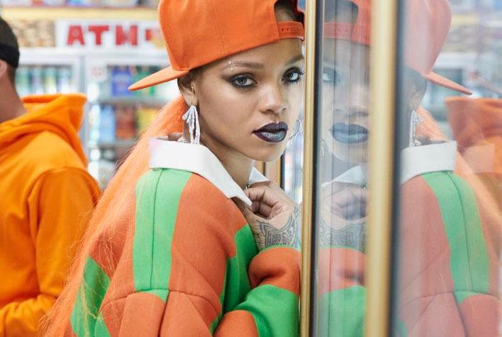 rihanna with orange low ponytail paper magazine edgy hairstyles