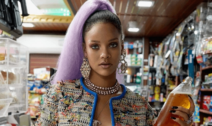 rihanna with edgy hairstyles paper magazine purple ponytail