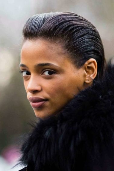 quick and easy hairstyles for short hair: black woman with slicked-back hair