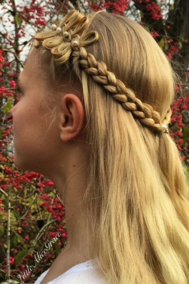 how to style a bow braid with pearl pins with our bow braid hairstyle tutorials - Instagram