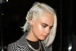 Cara Delevingne platinum hair colour bob