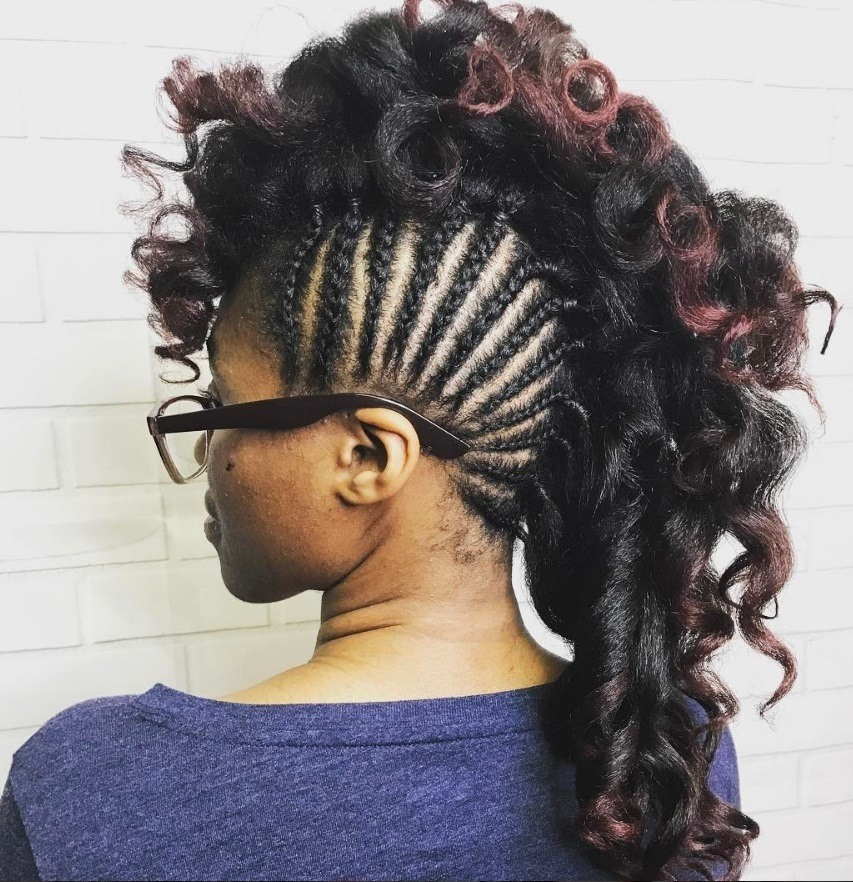 black woman with cornrow mohawk hairstyle