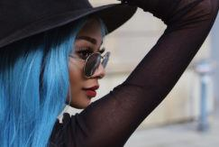 nyanelebajoa with denim blue hair
