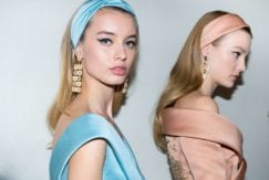 models with headbands backstages at elie saab 2017 show