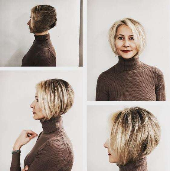 older woman with a blonde graduated bob
