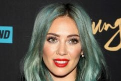 Hilary Duff long pastel green wavy hair colour