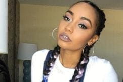 little mix star leigh anne pinnock with colourful braided hairstyle in denim and white
