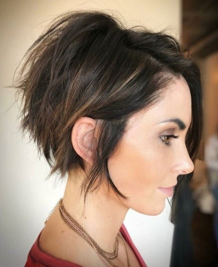 brunette woman with a pob stacked bob haircut