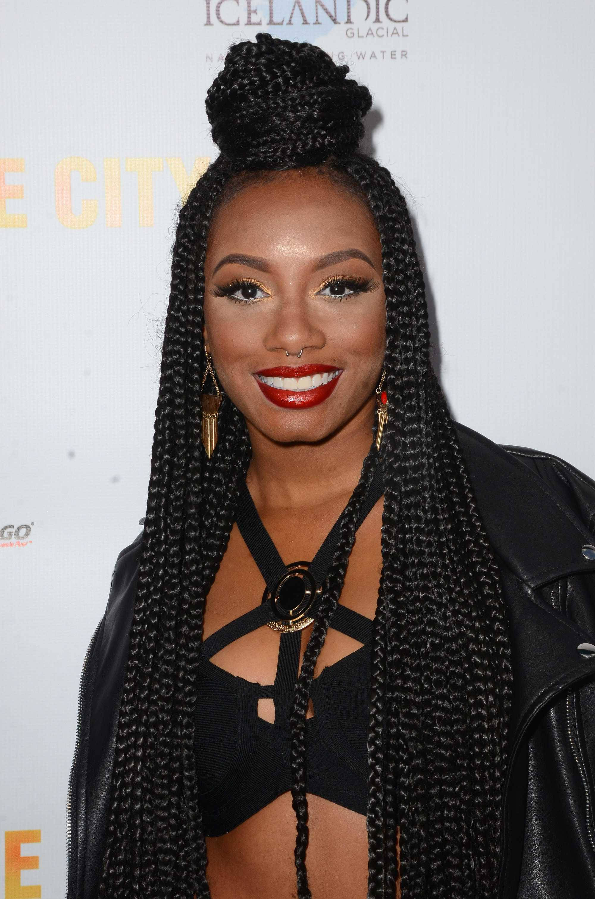 Poetic Justice Braids Styles: Imani Hakim With Top Knot Box Braid Hairstyle