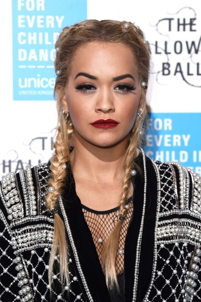 It takes two celebrity inspired 2 braids hairstyles you should try rita ora with a french 2 braids hairstyle embellished with pearls urmus Images
