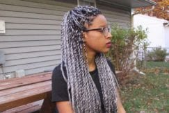Grey Senegalese twist styling ideas