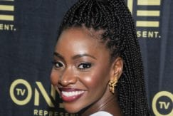 single plaits hairstyles: teyonah paris high ponytail