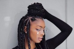 Ideas about thick box braids: triangle pattern braids - Instagram
